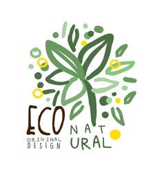 Eco natural label original design logo graphic vector