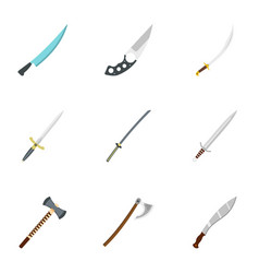 Bladed weapon icon set flat style vector