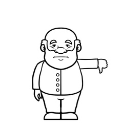 Black and white old man giving a thumbs down vector