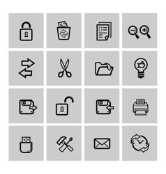 Black web icons set vector