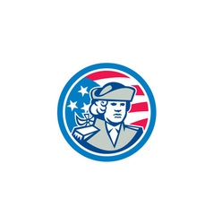 American Patriot Bust Stars and Stripes Flag vector image