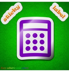 Calculator icon sign symbol chic colored sticky vector