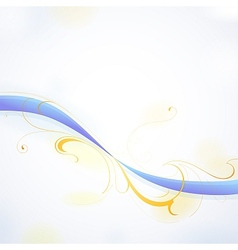 Floral wave with watercolor spray drops vector