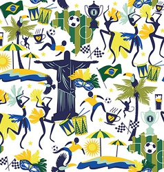 Seamless pattern with traditional brazilian items vector