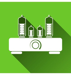 Tube amplifier icon long shadows vector