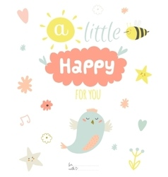 Cute summer card with character vector