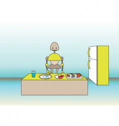 comic robot on the kitchen vector image
