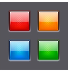 Set of realistic color glossy buttons vector