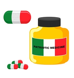 Patriotic medicine italy pills with italian flag vector