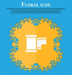 35 mm negative films icon floral flat design on a vector