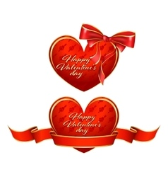 Heart with ribbon and bow vector