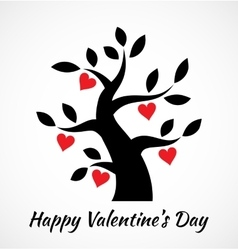 Valentines day vintage tree with hearts icon vector