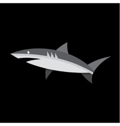 Flat shark on a dark background of quality logo vector