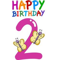 Second birthday anniversary card vector