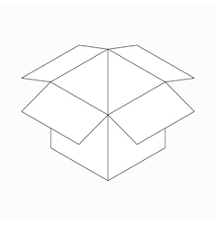 Opened cardboard box icon isometric 3d style vector image