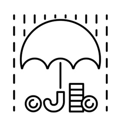 Money rain and umbrella sign icon vector