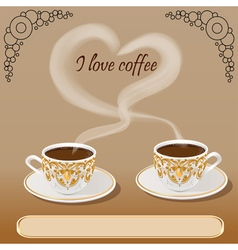background with a fresh Cup of aromatic coffee vector image