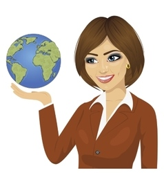Brunette businesswoman holding the globe vector