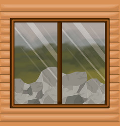 Background interior wooden cabin with forest with vector