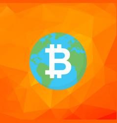 bitcoin sign bitcoin on earth flat vector image