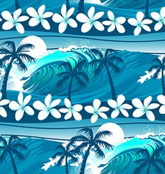 Blue tropical surfing with palm trees seamless vector image