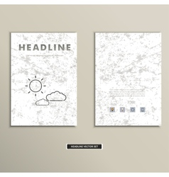 Book cover with contour images of clouds and sun vector image vector image