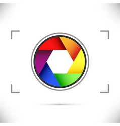 Bright rainbow camera shutter diaphragm vector