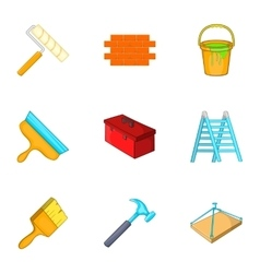 Building tools icons set cartoon style vector image vector image