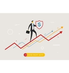 Businessman climbing graph protects the shield vector image