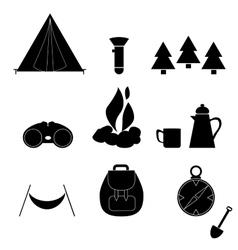 Camp icon silhouette nature symbol equipment vector