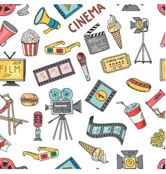 Cinema collection set seamless pattern of vector