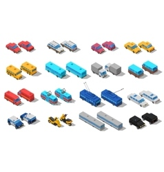 City Transport Isometric Icons Set vector image