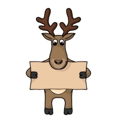 Cute hand drawn deer with blank banner vector