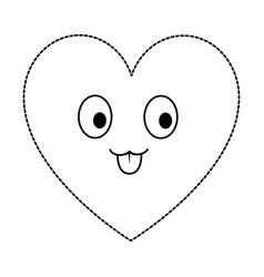 Cute heart kawaii character vector