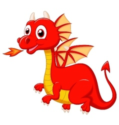 Cute red dragon cartoon vector