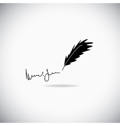 feather with a signature vector image