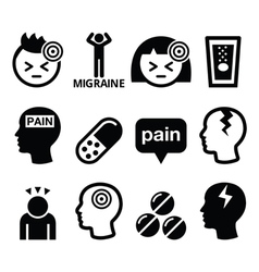 Headache migraine - medical icons set vector image