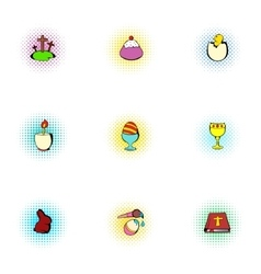 Holiday easter icons set pop-art style vector