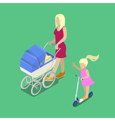 Isometric people young mother with babby carriage vector