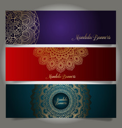 Luxury banners with mandala designs vector