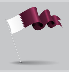 Qatari pin wavy flag vector