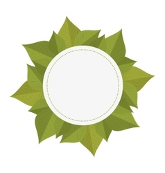 Round border frame with green leaves vector