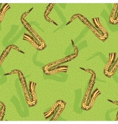Seamless Pattern With Saxophones vector image vector image