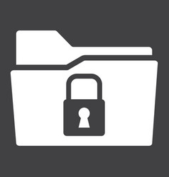 secure data folder solid icon security padlock vector image