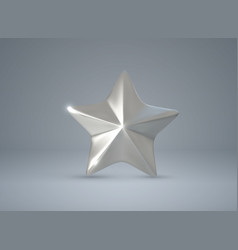 Silver star realistic 3d vector