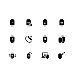 Smart watch icons on white background vector