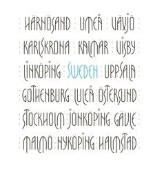 Sweden s cities lettering vector