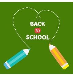 Two pencils dash heart on green back to school vector
