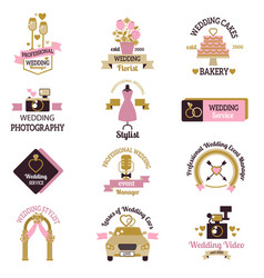 wedding photo or event agency logo badge camera vector image vector image