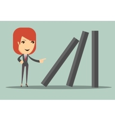 Business woman toppling dominoes vector